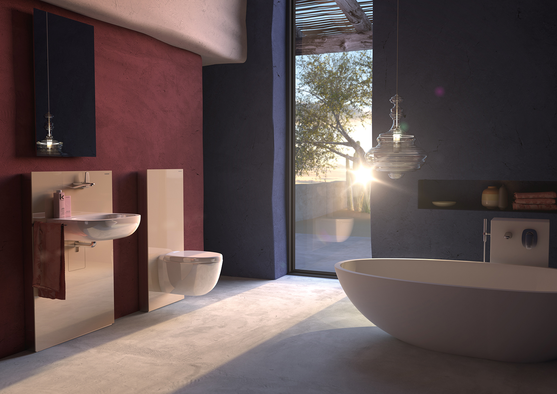 Très belle salle de bains design dans le stons prune et bleu marine - Geberit
