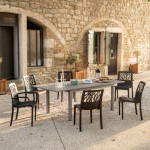 Une jolie table de jardin entourée de 6 chaises est placée dans a cour d'une Bastide provençale