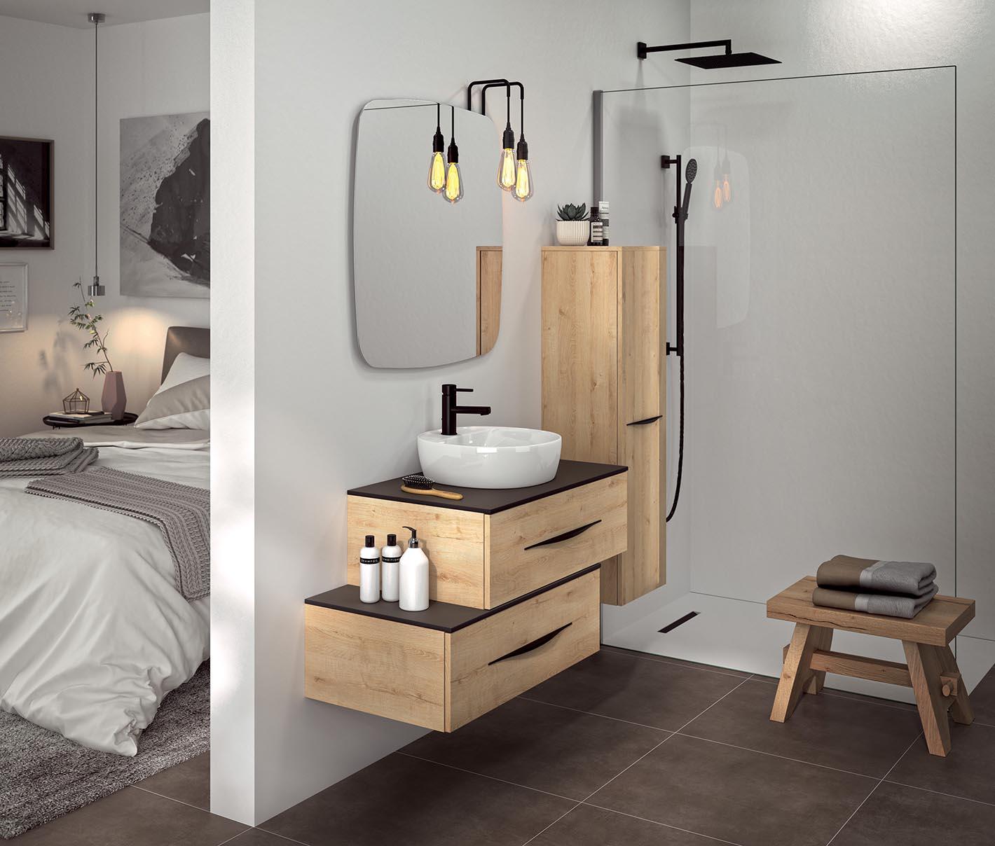 Meuble sde salle de bains en bois Bento de Decotec chez Grandbains