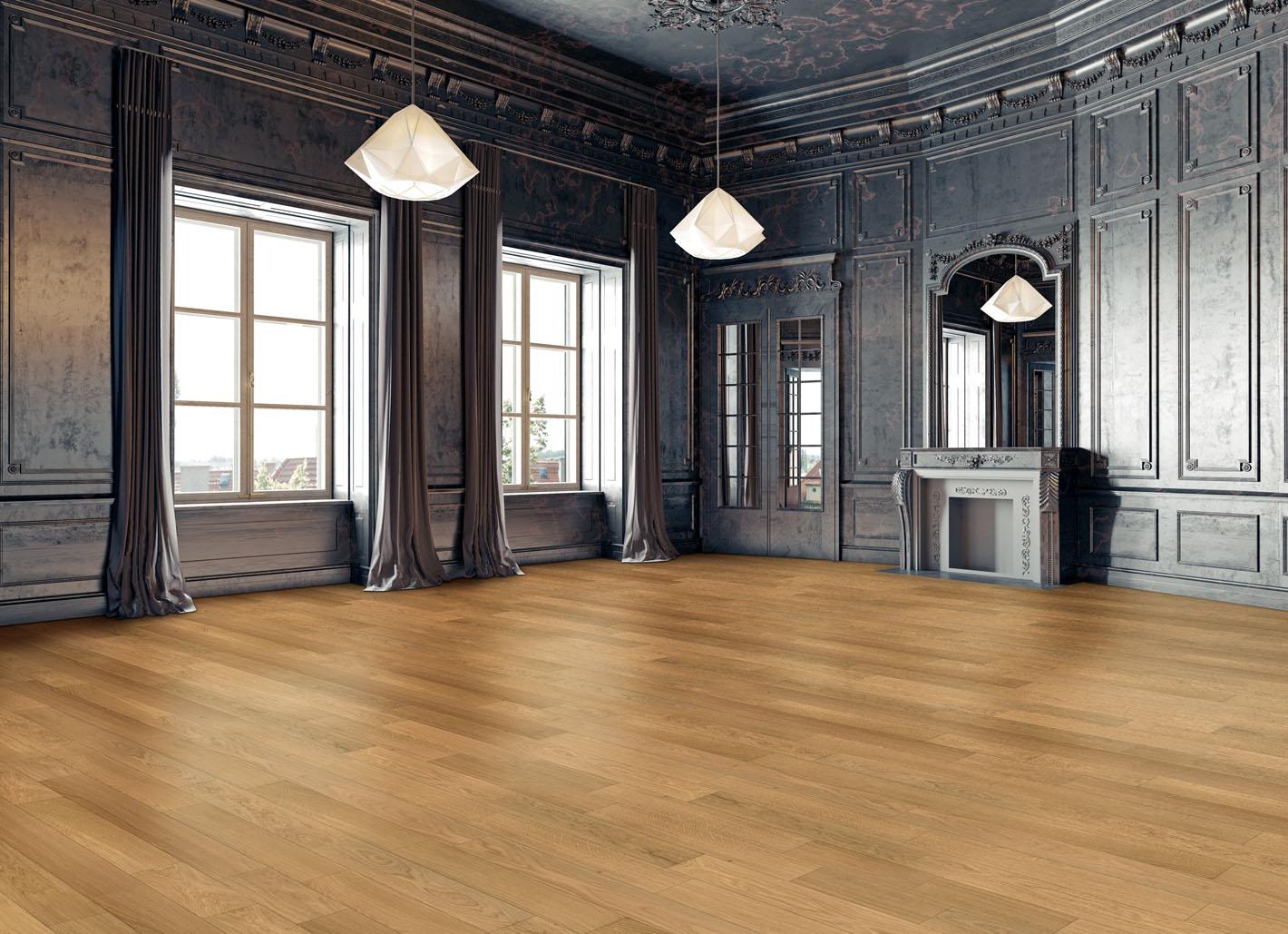 Une très belle salle de réception décorée avec un parquet chêne Udiwood massif Contract de la marque UDIREV