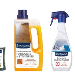 les produits Starwax dans leurs nouveaux emballages qui nspirent la propreté parfaite