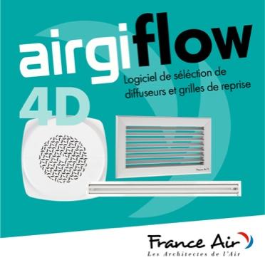 airgiflow 4D est un nouveau logiciel de sélection de diffuseurs et grilles de reprise. Il est illustré par la photo de 3 grilles d'aération sur fond vert avec le logo France Air